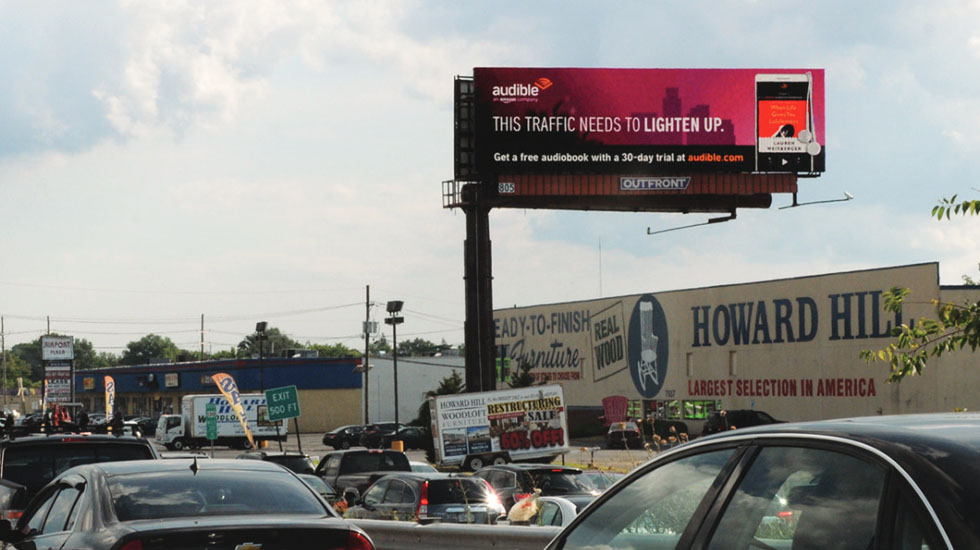 audible technology product on digital billboard out of home advertising