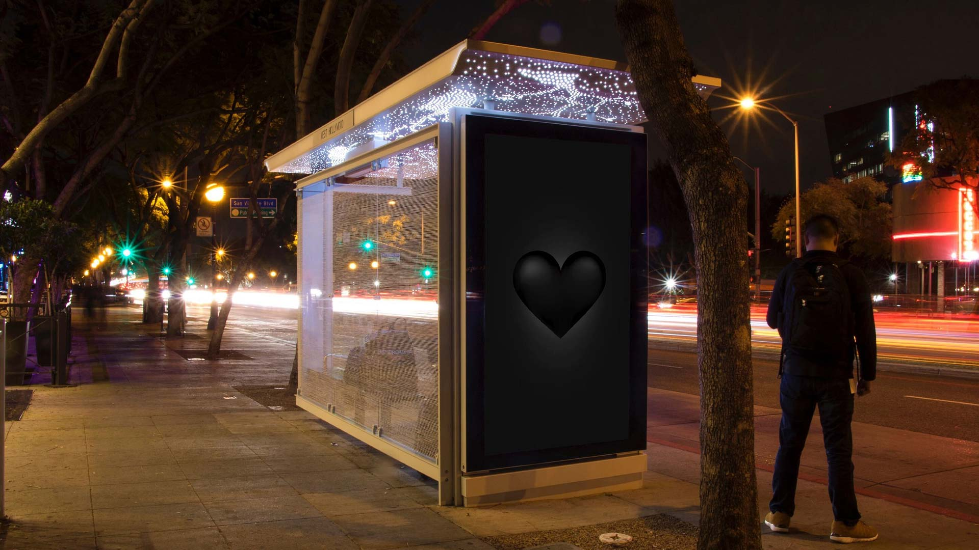 outfront media black heart transit shelter digital out of home advertising in los angeles