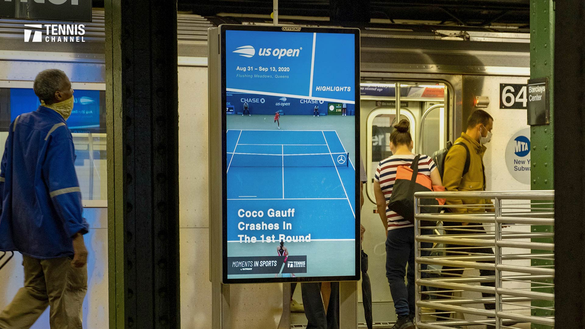 Digital display in NYC subway station of Tennis Channel highlights