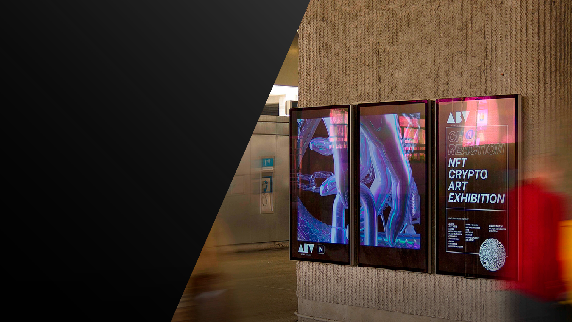 digital out of home advertising in new york city for crypto art exhibition